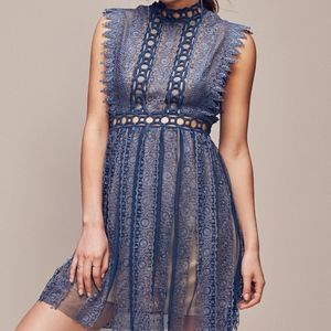 Free People Forever Lace Babydoll Dress in Teal